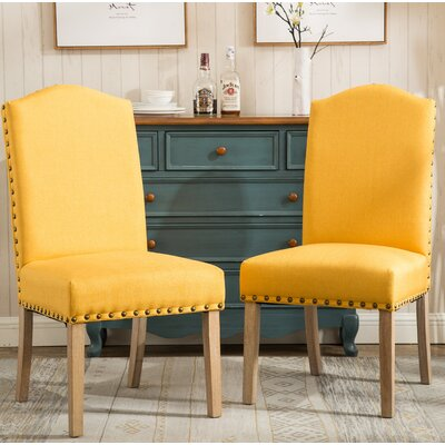 Kenleigh Urban Style Solid Wood Nailhead Fabric Padded Parson Chair Upholstery: Yellow