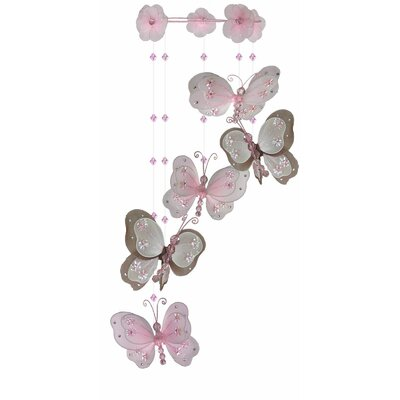 """Jessy Butterfly Hanging 3D Wall Decor Size: 24"""" H x 6"""" W x 6"""" D, Color: Pink/Brown HBEE7995 42964761"""