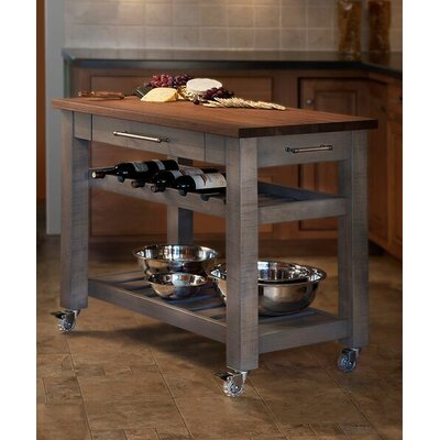 Metro Mobile Kitchen Island with Solid Walnut Top Base Finish: Grey