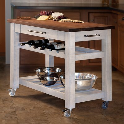 Metro Mobile Kitchen Island with Solid Walnut Top Base Finish: White