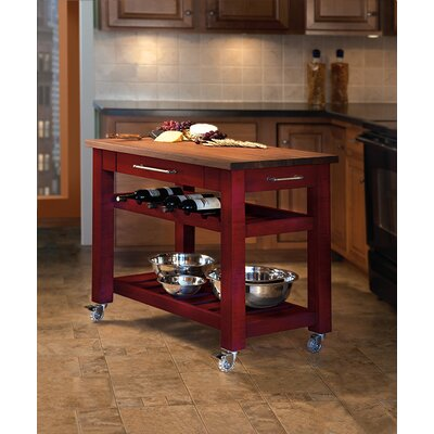 Metro Mobile Kitchen Island with Solid Walnut Top Base Finish: Red