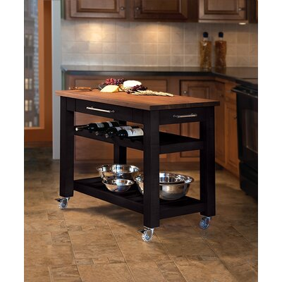 Metro Mobile Kitchen Island with Solid Walnut Top Base Finish: Black