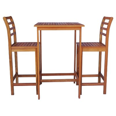 Arrigo 3 Piece Pub Table Set Color: Teak