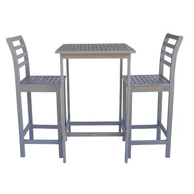 Arrigo 3 Piece Pub Table Set Color: Gray