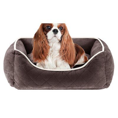 Keane  Quilted Orthopedic Foam Rectangular Cuddler Bloster Dog Bed Size: 34 L x 24 W, Color: Chocolate