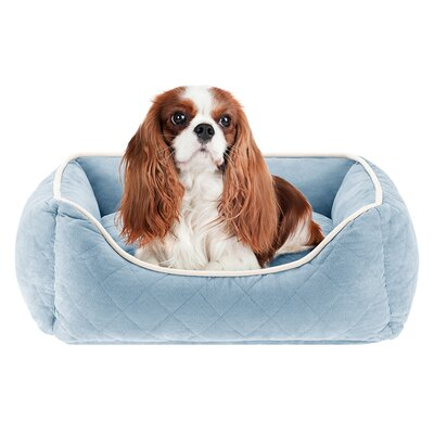 Keane  Quilted Orthopedic Foam Rectangular Cuddler Bloster Dog Bed Size: 34 L x 24 W, Color: Blue