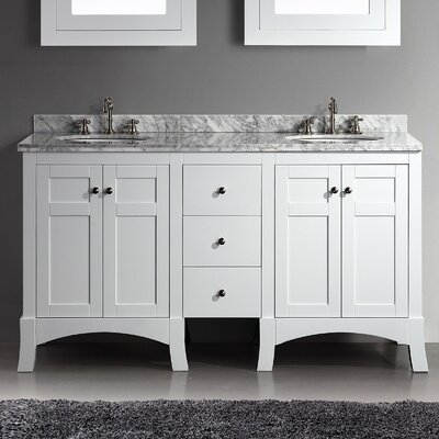 Piccirillo 60 Double Bathroom Vanity Set Base Finish: White