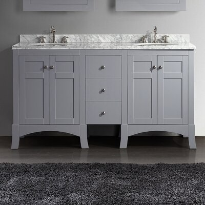 Piccirillo 60 Double Bathroom Vanity Set Base Finish: Grey