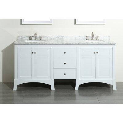 Piccirillo 72 Double Bathroom Vanity Set Base Finish: White