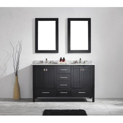 Pichardo 60 Double Wood Bathroom Vanity Set