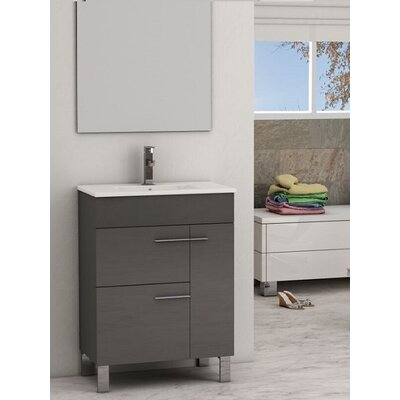 "Cup 24"" Single Modern Bathroom Vanity Set EVVN521-24GR"