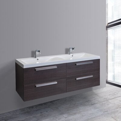 Surf 57 Double Bathroom Vanity Set Base Finish: Grey Oak