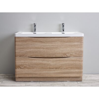 Smile 48 Double Bathroom Vanity Set Base Finish: White Oak