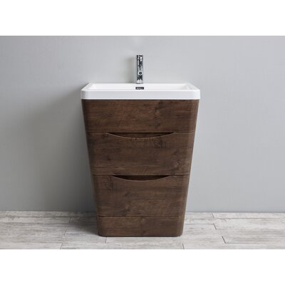 Bea 25 Single Bathroom Vanity Set Base Finish: Rosewood