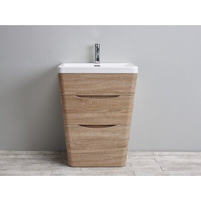 Victoria 25 Single Bathroom Vanity Set Base Finish: White Oak