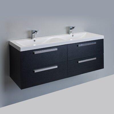 Surf 57 Double Bathroom Vanity Set Base Finish: Black Wood