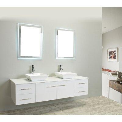 Totti Wave 72 Double Bathroom Vanity Set Base Finish: White