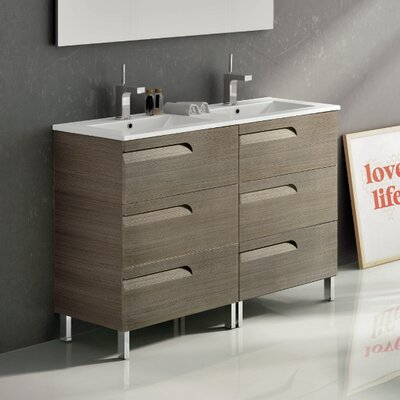 Vitta 48 Double Bathroom Vanity Set Base Finish: Ash