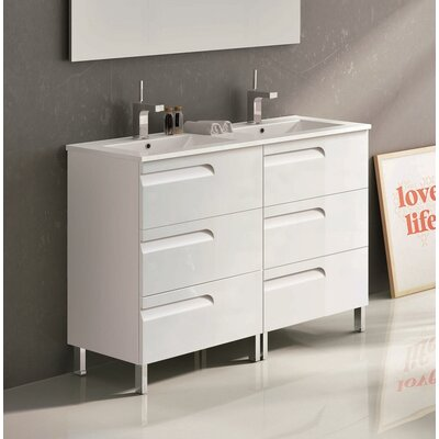 Oberlin 48 Double Bathroom Vanity Set Base Finish: White