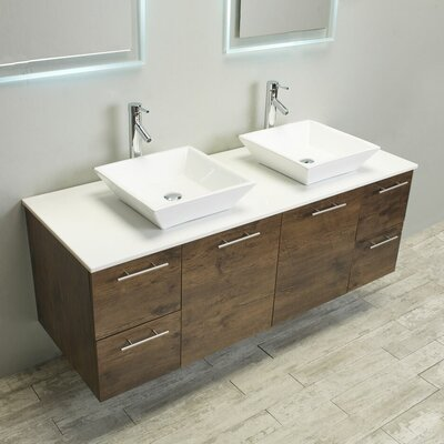 Luxury 60 Bathroom Vanity Base Finish: Gray Oak