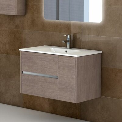 Aries 32 Single Bathroom Vanity Set Base Finish: Medium Oak