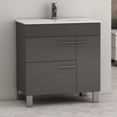 "Cup 31.5"" Single Modern Bathroom Vanity Set EVVN521-32GR"