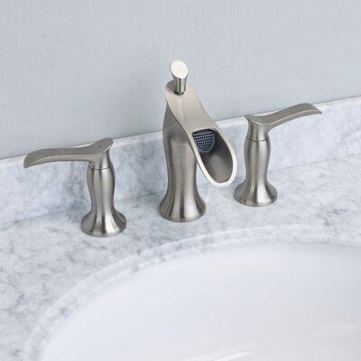 Swan� Double Handle Deck Mount Widespread Waterfall Bathroom Faucet Finish: Brushed Nickel