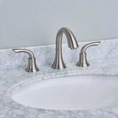 Friendy� Double Handle Deck Mount Widespread Bathroom Faucet Finish: Brushed Nickel