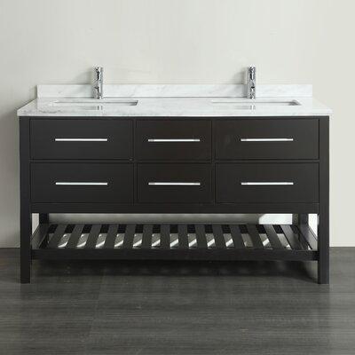 Natalie F.� 72 Double Bathroom Vanity Set Base Finish: Espresso