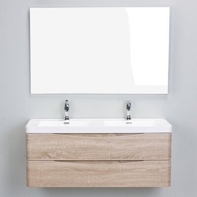 Smile Modern 48 Double Bathroom Vanity Set Base Finish: White Oak