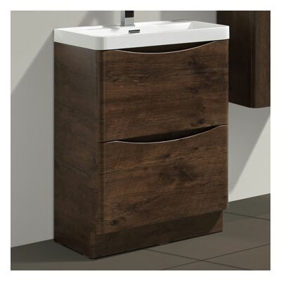 Blondene Modern 24 Single Bathroom Vanity Set Base Finish: Rosewood