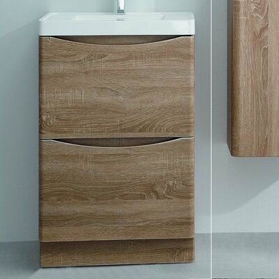 Smile Modern 24 Single Bathroom Vanity Set Base Finish: White Oak