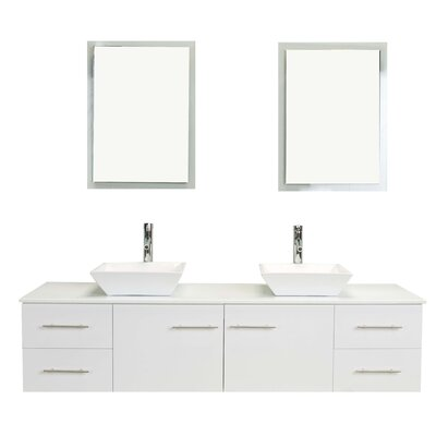 Totti Wave 60 Double Bathroom Vanity Set Base Finish: White