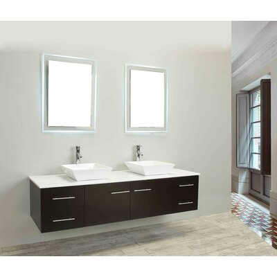 Vinit 60 Wall-Mounted Double Bathroom Vanity Set Base Finish: Espresso