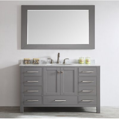 Pichardo 60 Single Bathroom Vanity Set Base Finish: Gray
