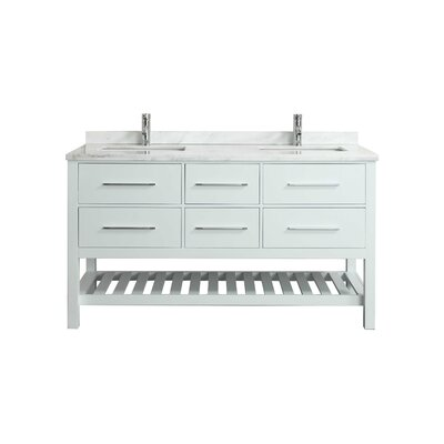 Natalie F. 72 Double Bathroom Vanity Set Base Finish: White