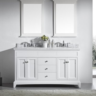 Elite Stamford 60 Double Bathroom Vanity Set Base Finish: White