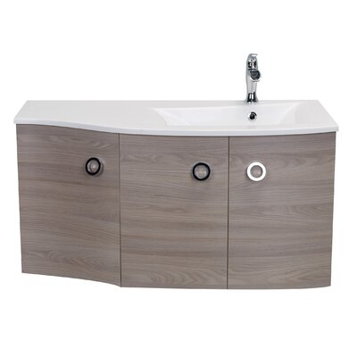 Brookline Medium Modern 42 Single Bathroom Vanity Set Base Finish: Gray Oak