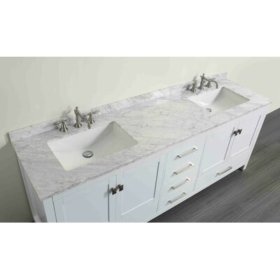Pichardo Transitional 84 Double Bathroom Vanity Set with Carrera Countertop
