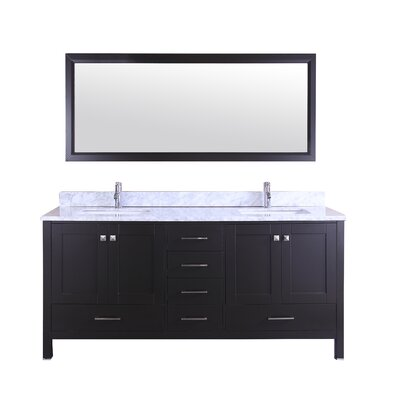 Arnab Transitional 72 Double Bathroom Vanity Set Base Finish: Espresso