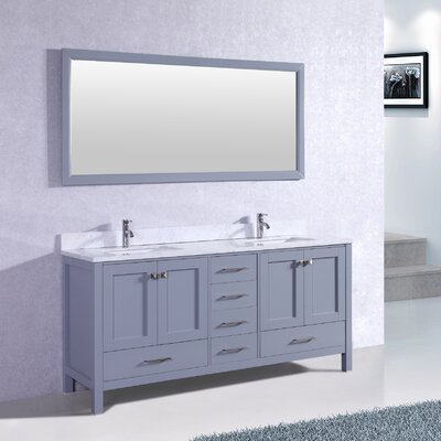 Arnab Transitional 72 Double Bathroom Vanity Set Base Finish: Gray