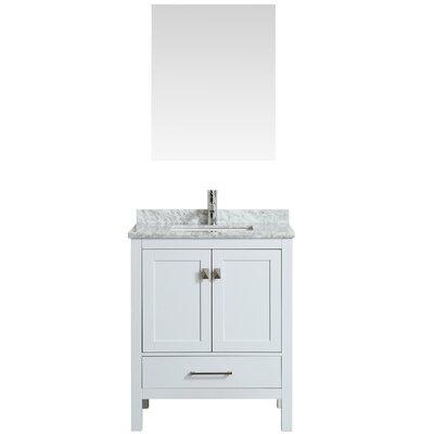 Khadijah 30 Single Bathroom Vanity Set Base Finish: White, Top Finish: Gray/White