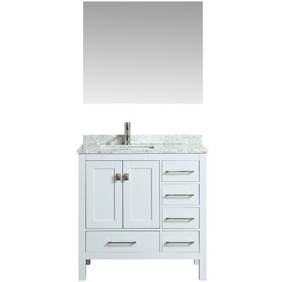 Khadijah 36 Single Bathroom Vanity Set Base Finish: White, Top Finish: Gray/White