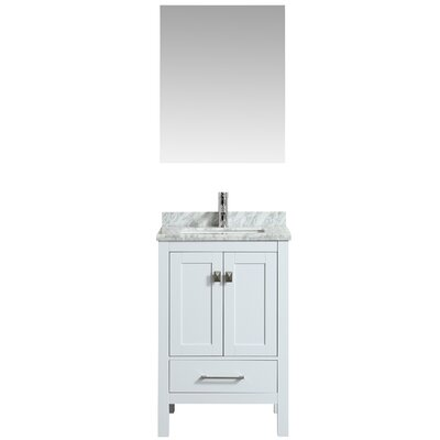 Khadijah 24 Single Bathroom Vanity Set Base Finish: White, Top Finish: Gray/White