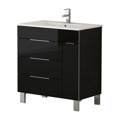 Geminis� 28 Single Bathroom Vanity Set Base Finish: Black