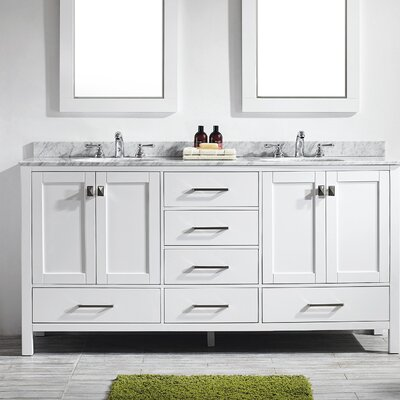 Pichardo 72 Double Bathroom Vanity Set Base Finish: White