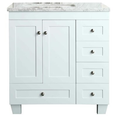 Kyndra Transitional 31 Single Bathroom Vanity Set Base Finish: White