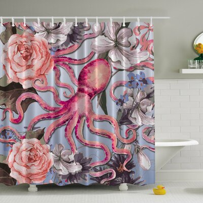 Octopus N Roses Print Shower Curtain