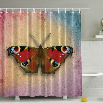 Vintage Butterfly Print Shower Curtain