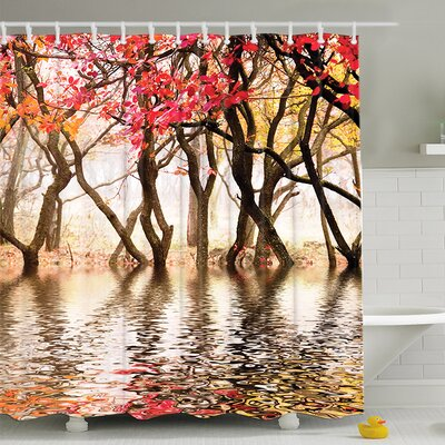 Reflection of Spring Print Shower Curtain